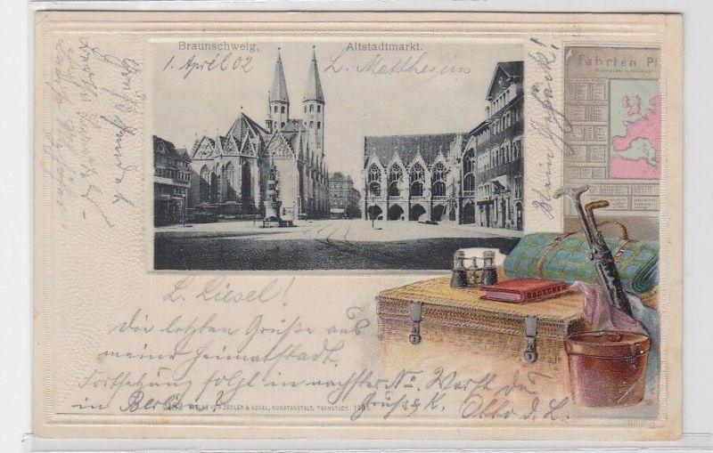 90990 Präge Passepartout AK Braunschweig Altstadtmarkt 1902