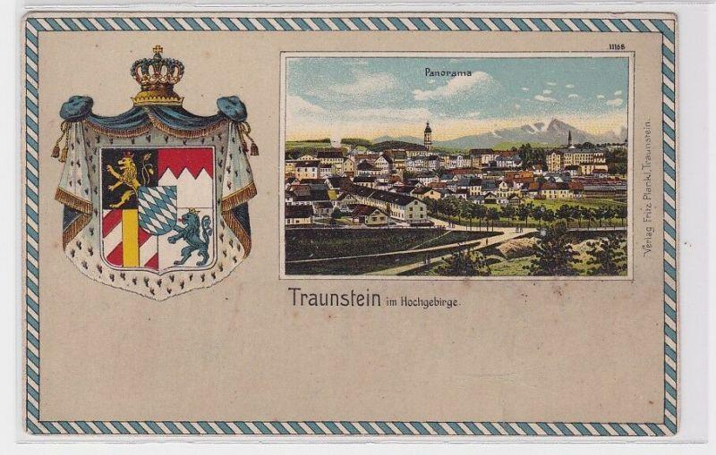 90986 Präge Passepartout AK Traunstein im Hochgebirge Panorama um 1900