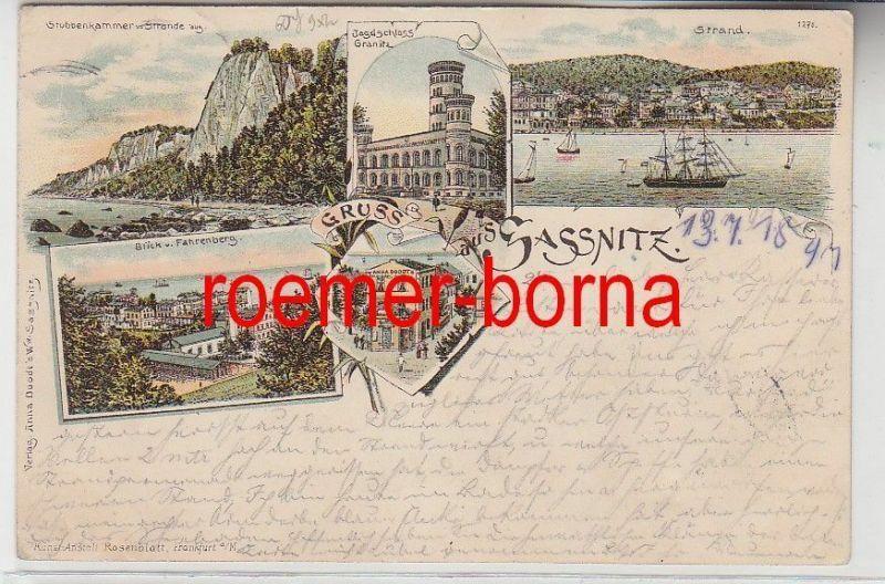 72188 Ak Lithografie Gruss aus Sassnitz Jagdschloss Granitz usw. 1897