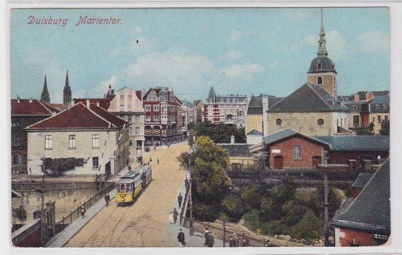 87590 AK Duisburg - Marientor mit Straßenbahn Tram, Marienkirche 1923