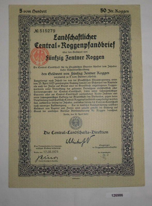 50 Zentner Roggenpfandbrief Central-Landschafts-Direktion Berlin 1924 (126986)