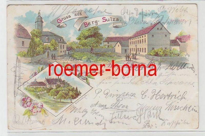 71962 Ak Lithografie Gruß aus Berg-Sulza Gasthof und Schloss Bergsulza 1903