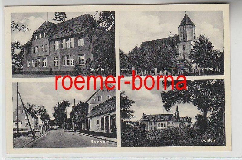 76691 Mehrbild Ak Borna Schule, Kirche, Schloß, Straßenansicht um 1940
