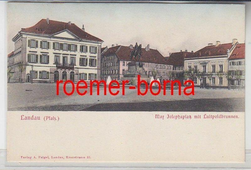 78242 Ak Landau Pfalz Max Josephsplatz mit Luitpoldbrunnen um 1900