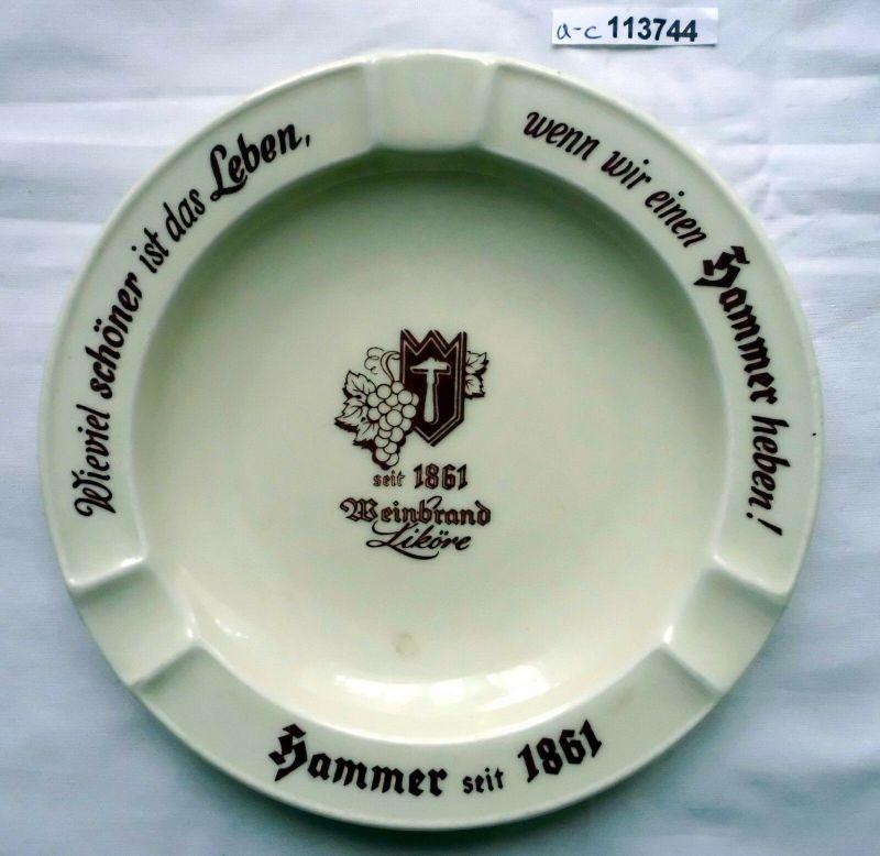 Werbe-Aschenbecher Hammer Weinbrand-Liköre Porzellan um 1940 (113744)
