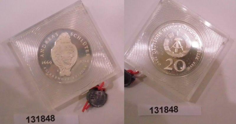 DDR Münze 20 Mark 275. Todesstag von Andreas Schlüter 1990 PP verplombt (131848)