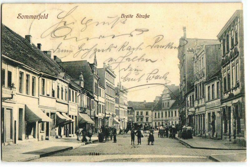 92249 Ak Sommerfeld Lubsko Breite Strasse mit Geschäften 1910
