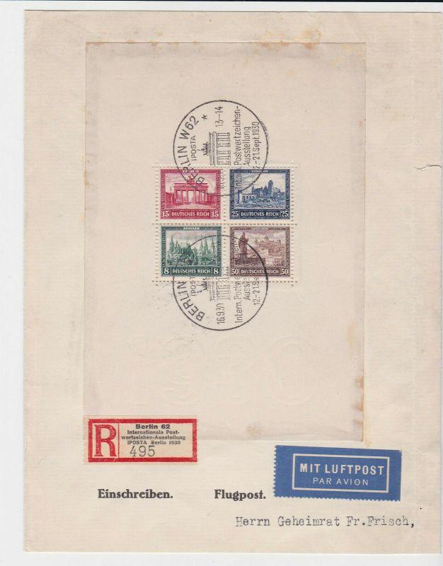 Einschreibe Brief IPOSTA Michel Block 1, 1930, geprüft (122808)