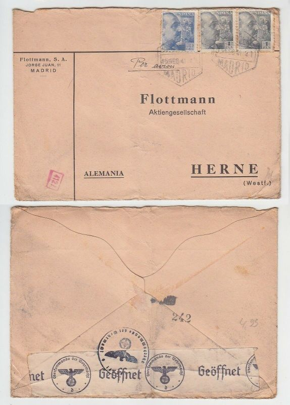 72676 seltener Zensur Post Brief von Madrid Spanien nach Herne in Westf. 1941