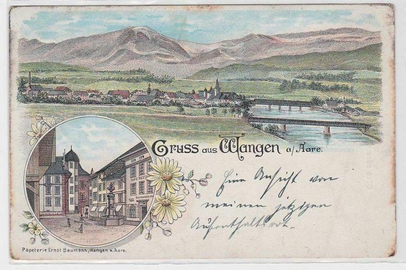 87575 Ak Lithographie Gruß aus Wangen an der Aare um 1900