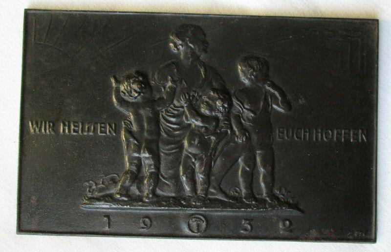 Lauchhammer Plakette Kunstguss Wir heissen euch hoffen 1932 (114496)