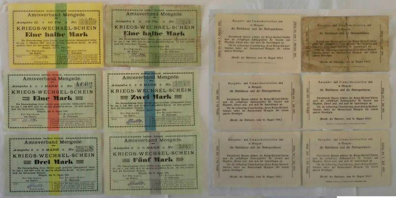 6 Banknoten Kriegs-Wechselschein Amtsverband Mengede 1914 (133070)