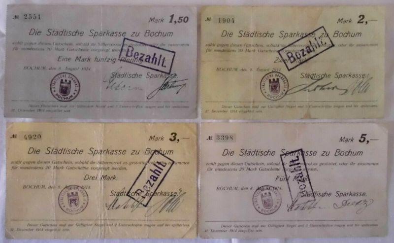 4 Banknoten Inflation Städtische Sparkasse Bochum 1914 (133125)
