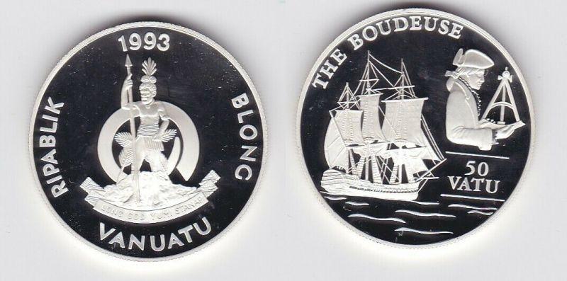 50 Vatu Silber Münze Vanuatu 1993 Segelschiff