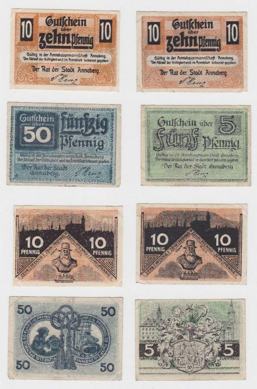 5, 2 x 10 und 50 Pfennig Banknoten Stadt Annaberg ohne Datum (132555)