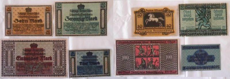 5 bis 100 Mark Banknoten Notgeld Braunschweig  15.10.1918 (132892)