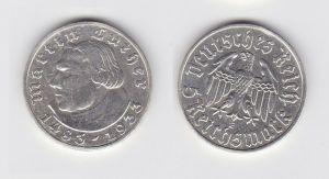 5 Mark Silber Münze Martin Luther 1933 A Jäger 353 (131031)