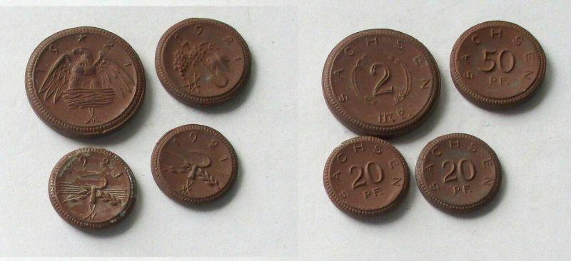 4x Porzellan Notgeld Münzen 20 Pfennig - 2 Mark Sachsen 1921 (133015)