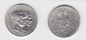 3 Mark Silber Münze Braunschweig Hochzeit 1915 A (131168)