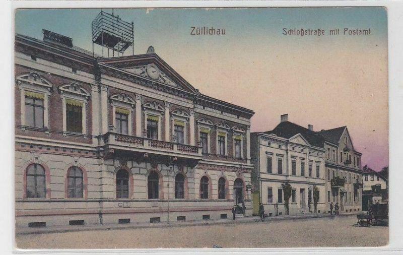80069 Ak Züllichau Sulechów Schloßstrasse mit Postamt um 1910