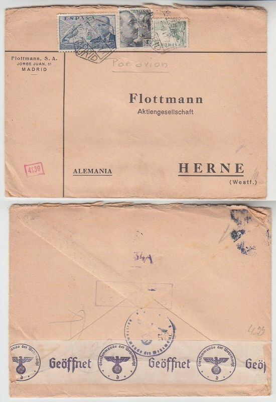 65735 seltener Zensur Post Brief von Madrid Spanien nach Herne in Westf. 1940