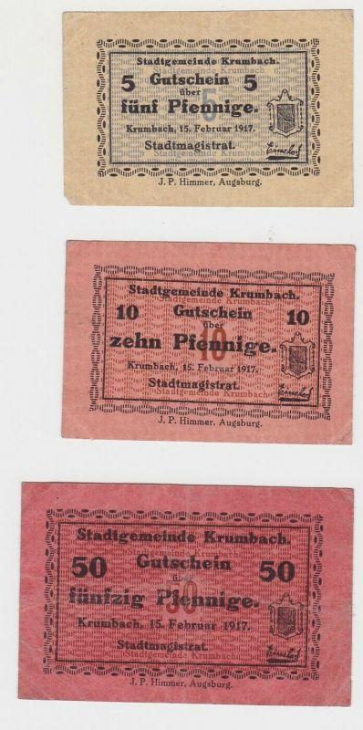 5, 10 & 50 Pfennig Banknoten Notgeld Stadtgemeinde Krumbach 1917  (132107)