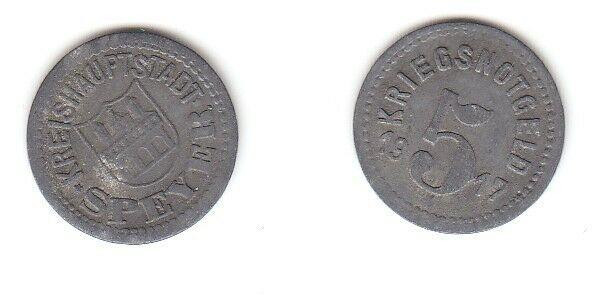 5 Pfennig Zink Münze Notgeld Kreishauptstadt Speyer 1917 (113231)