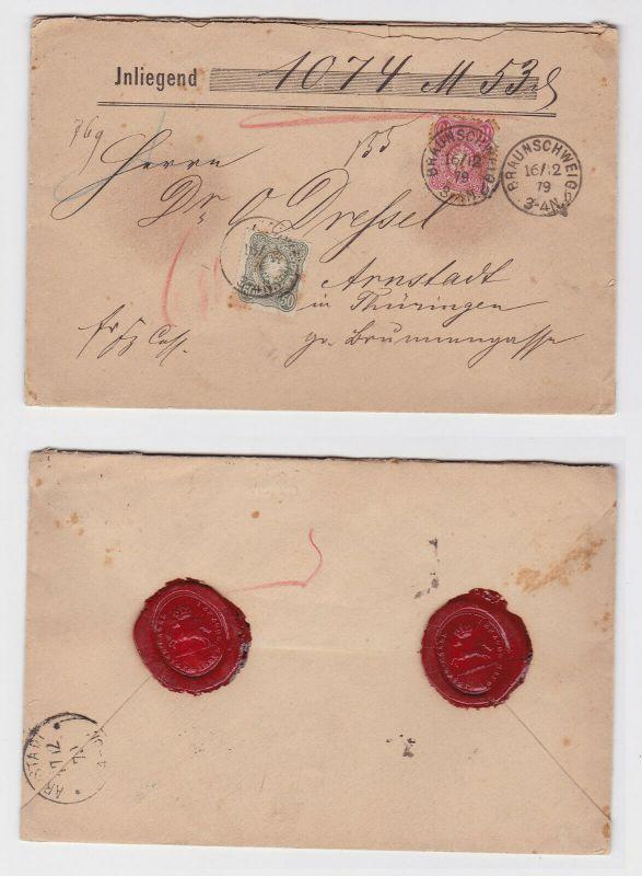 Wert Brief von Braunschweig nach Arnstadt Michel Nr. 38, 41, 1879 (126223)