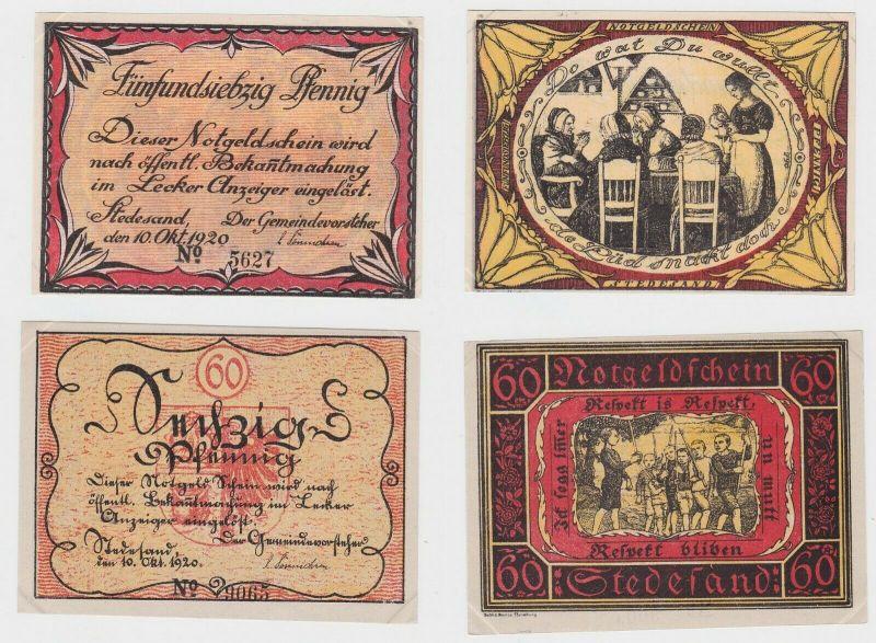 2 Banknoten Notgeld 60 - 75 Pfennig Stadt Stedesand 10. Oktober 1920 (133187)