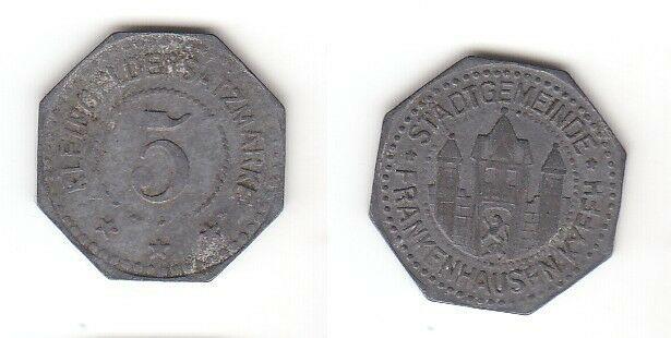 5 Pfennig Zink Münze Notgeld Stadtgemeinde Frankenhausen Kyff. (113272)