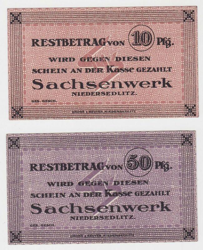 10 & 50 Pfennig Banknoten Notgeld Sachsenwerk Niedersedlitz ohne Datum  (133176)