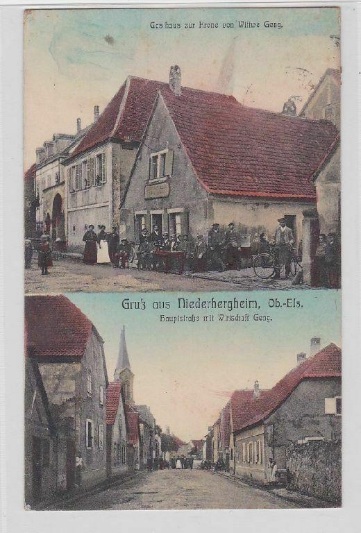 88633 Mehrbild Ak Gruß aus Niederhergheim Oberelsass Gasthaus usw. 1911