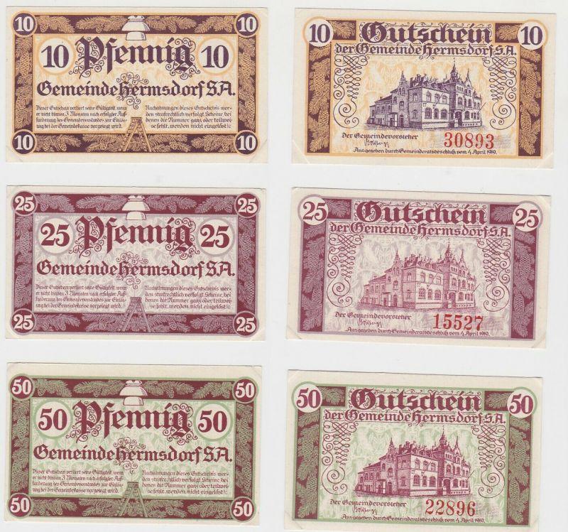 10, 25 & 50 Pfennig Banknoten Notgeld Gemeinde Hermsdorf S.-A.  (132452)