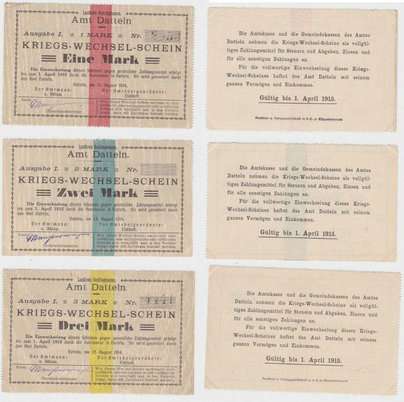 3 Banknoten Notgeld Stadt Datteln Kriegs-Wechselschein 13. August 1914 (133154)
