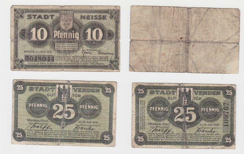 10 & 25 Pfennig Banknoten Notgeld Stadt Verden Aller 1919 (132407)