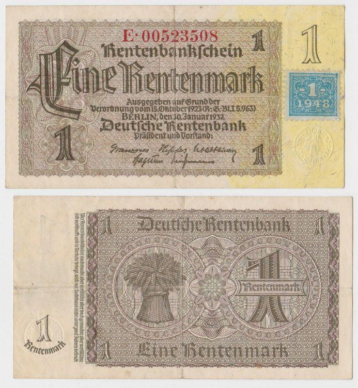 1 Mark Banknote DDR Deutsche Notenbank 1948 Kuponausgabe Ro.Nr.330 b (132158)