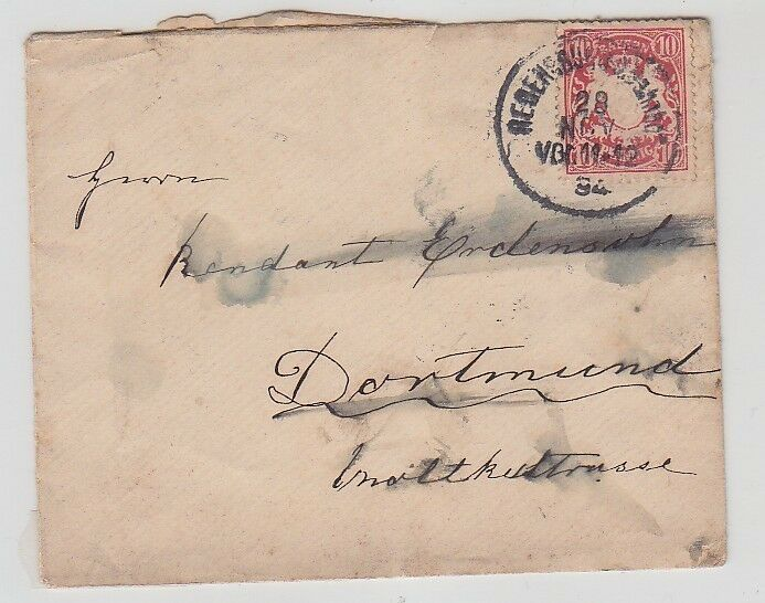 72129 seltener Brief Bayern von Regensburg Bahnhof nach Dortmund 1894