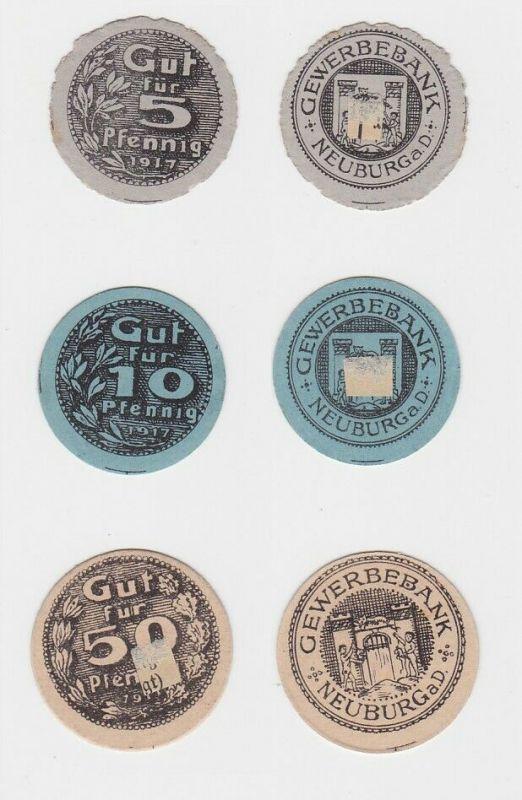 5, 10 & 25 Pfennig Banknoten Notgeld Gewerbeband Neuburg a.D. 1917  (132619)
