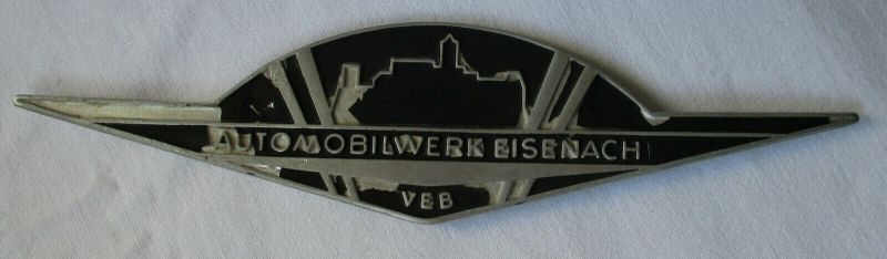 Wartburg Firmen Blech Plakette VEB Automobilwerk Eisenach um 1970 (118942)