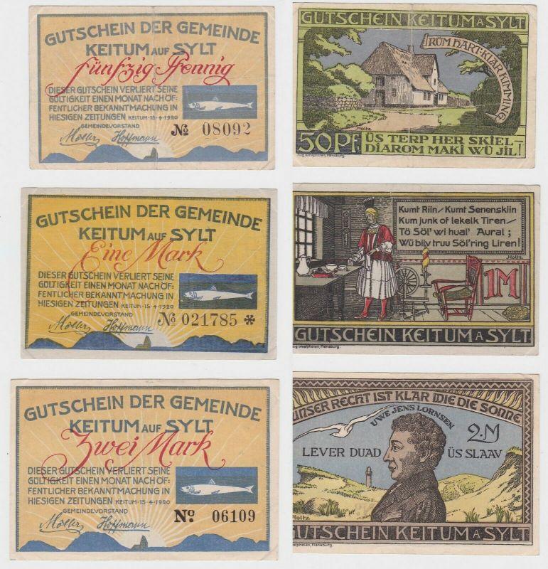 3 Banknoten Notgeld 50 Pfennig - 2 Mark Stadt Keitum auf Sylt 15.4.1920 (133145)