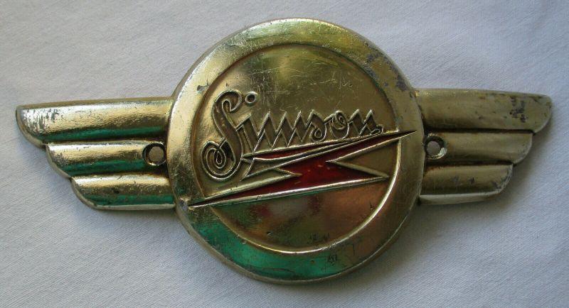 Firmen Blech Plakette Simson Motorrad um 1960 (110456)