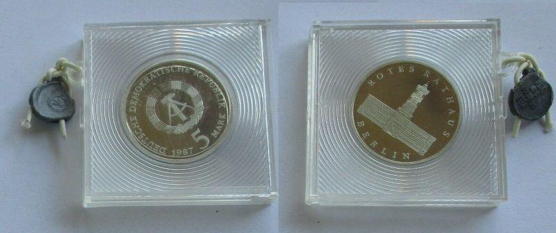 DDR Gedenk Münze 5 Mark 750 Jahre Berlin Rotes Rathaus 1987 PP (132109)