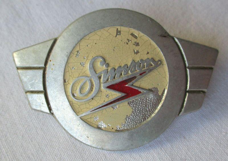 Firmen Blech Plakette Simson Motorrad um 1960 (118227)