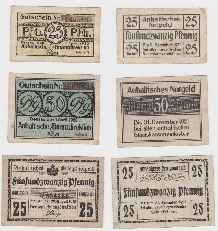3 Banknoten Notgeld 25 - 50 Pfennig Stadt Dessau 1918 & 1920 (132629)