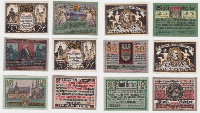 6 Banknoten Notgeld Stadt Höxter 1921 (132441)
