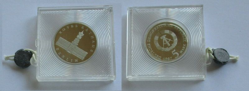 DDR Gedenk Münze 5 Mark 750 Jahre Berlin Rotes Rathaus 1987 PP (131654)