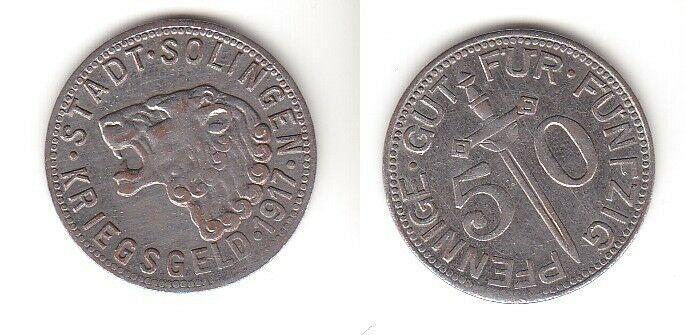 50 Eisen Pfennig Notmünze Stadt Solingen 1917 (113178)