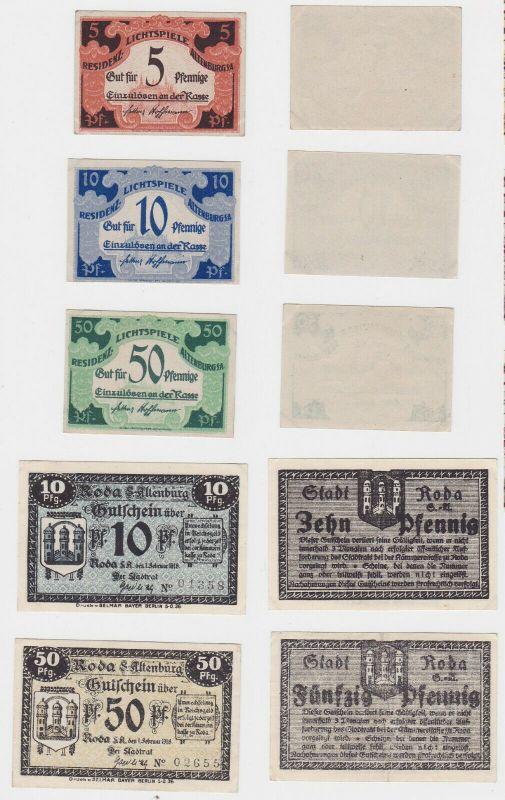 5 x Banknoten Notgeld Stadt Altenburg / Roda 1918 (132929)