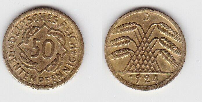 50 Rentenpfennig Messing Münze Weimarer Republik 1924 D Jäger 310 (131138)