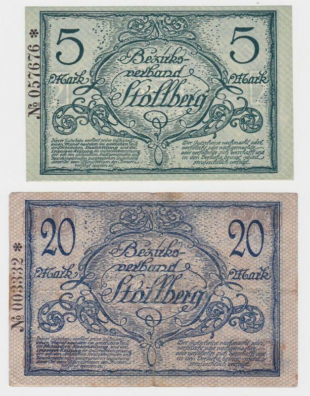 5 und 20 Mark Banknoten Notgeld Amtshauptmannschaft Stollberg 1918 (133196)